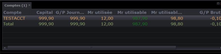 Capture d'écran qui montre le détails du compte d'un investisseur sur FXCM