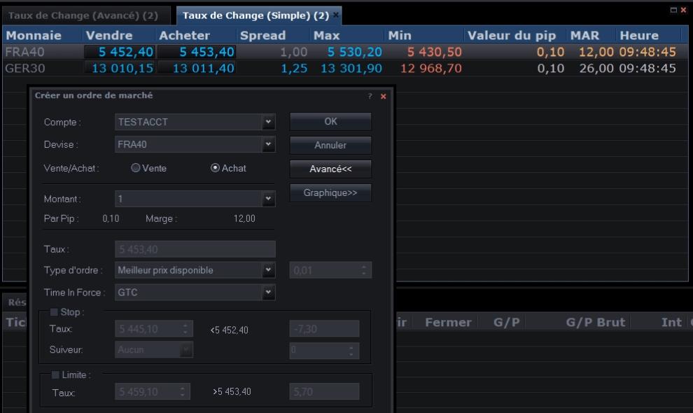 Copie d'écran du passage d'un ordre d'achat sur FXCM