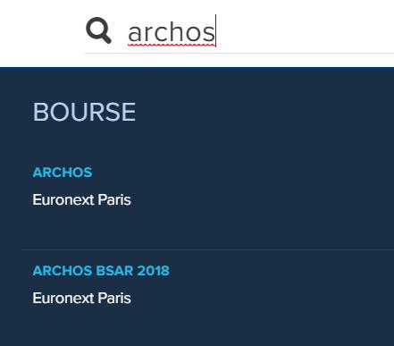 Recherche par le nom de la société ARCHOS