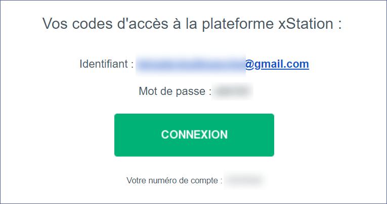 Identifiants reçus par mail avec le bouton connexion