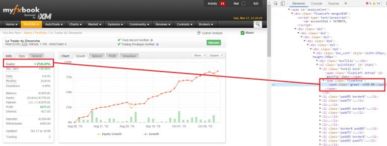 La consolde de développement du navigateur permet de falsifier les résultats de trading