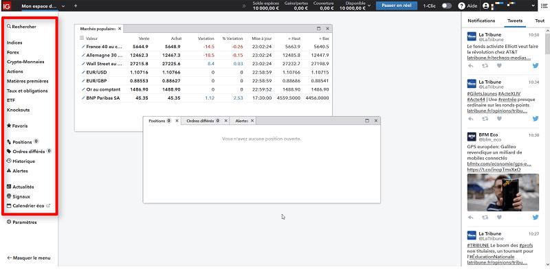 La liste des actifs et le calendrier économique