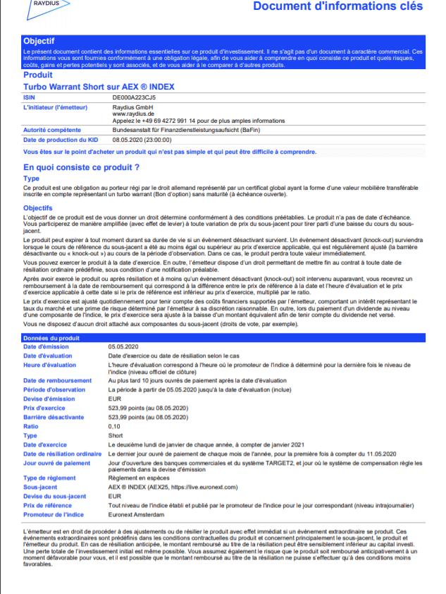 Exemple d'un document clé d'information d'un turbo24