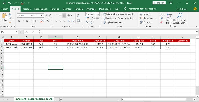 Export des résultats XTB au format Excel