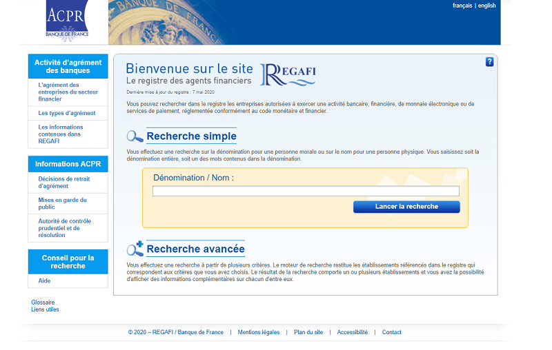 Le site REGAFI