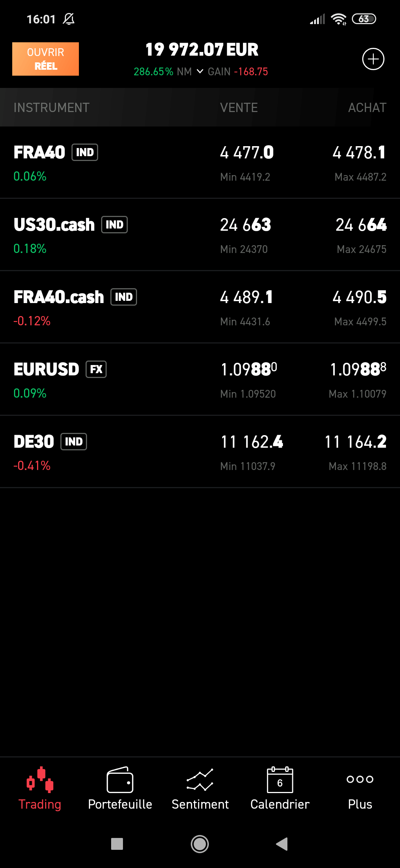 Visuel de la plateforme de trading mobile XTB