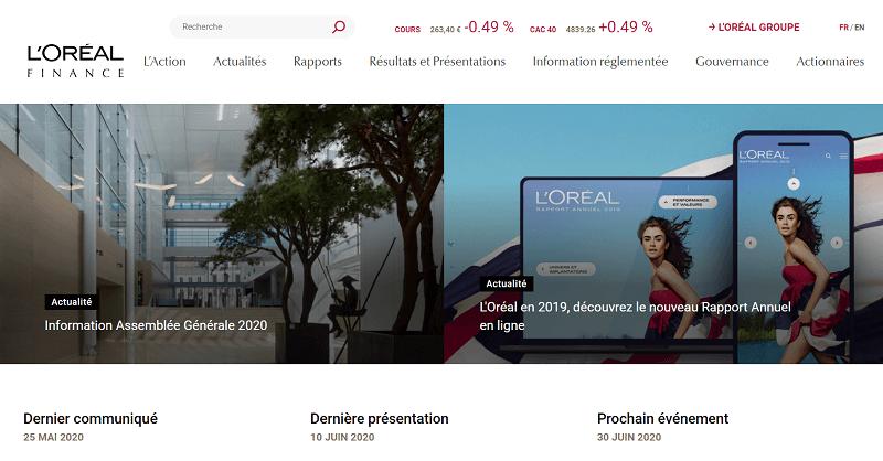 Page d'accueil de la partie investisseur du site de l'Oréal