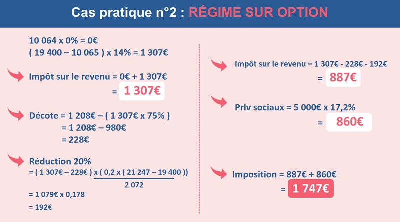 L'impôt sur le revenu de Cédric avec 5000€ de plus-values au régime sur option ( barème progressif )
