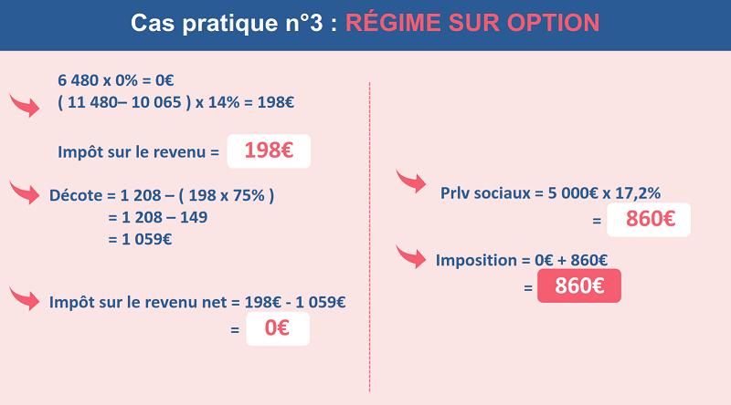 L'impôt sur le revenu de Paul avec 5000€ de plus-values au régime sur option ( barème progressif )