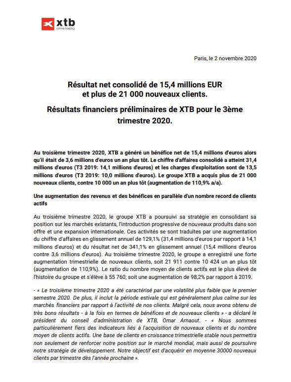 Communiqué XTB résultats 3T 2020