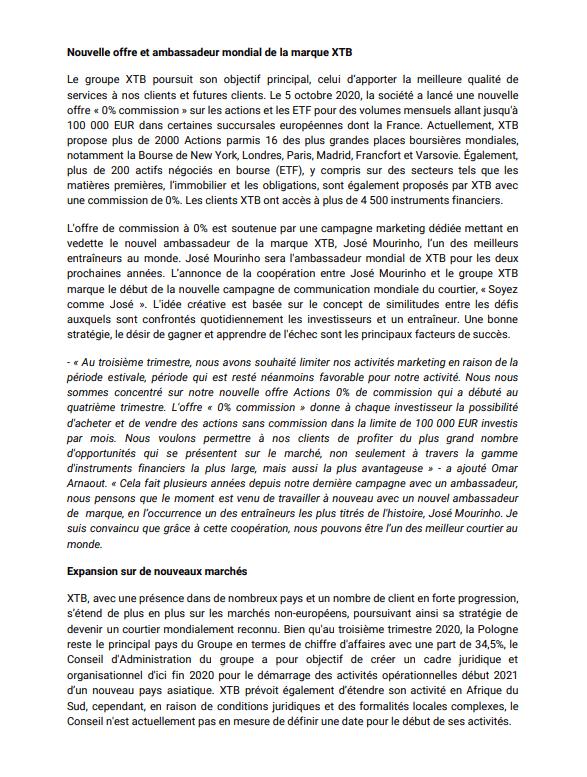 Communiqué XTB résultats 3T 2020 page 2