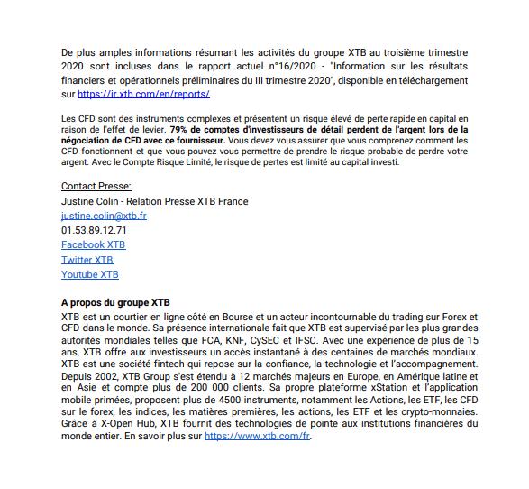 Communiqué XTB résultats 3T 2020 page 3