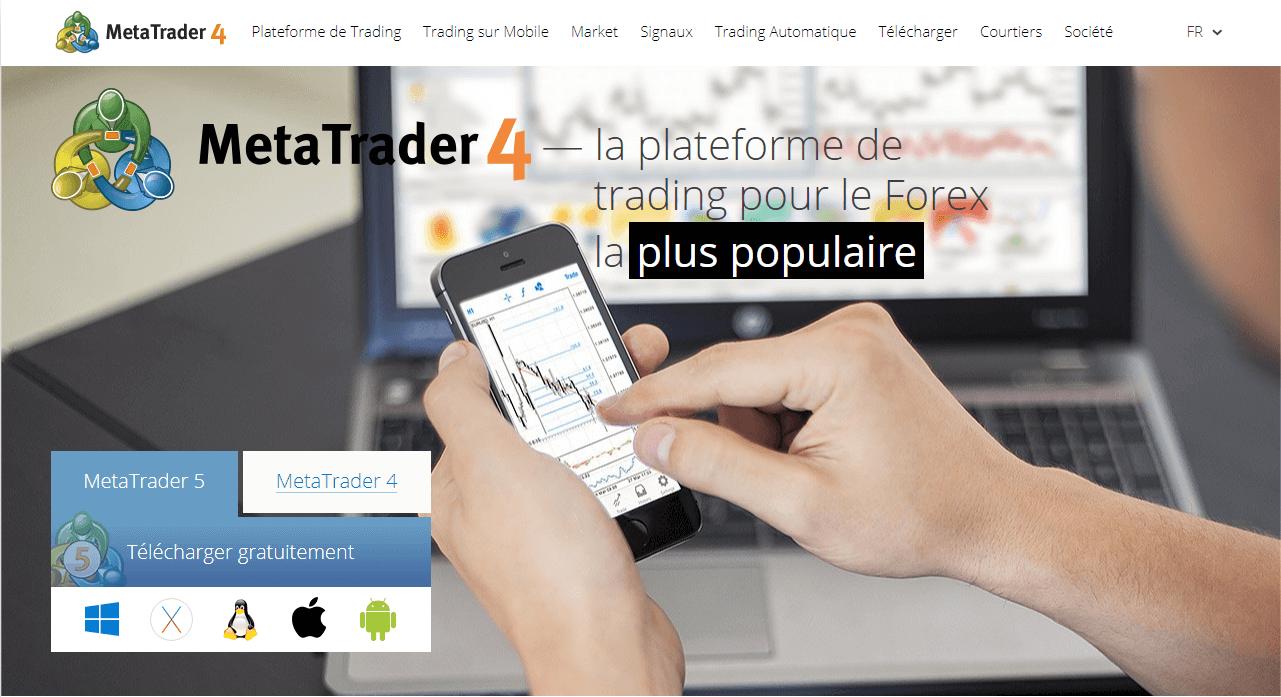 La page d'accueil du site de MetaTrader4