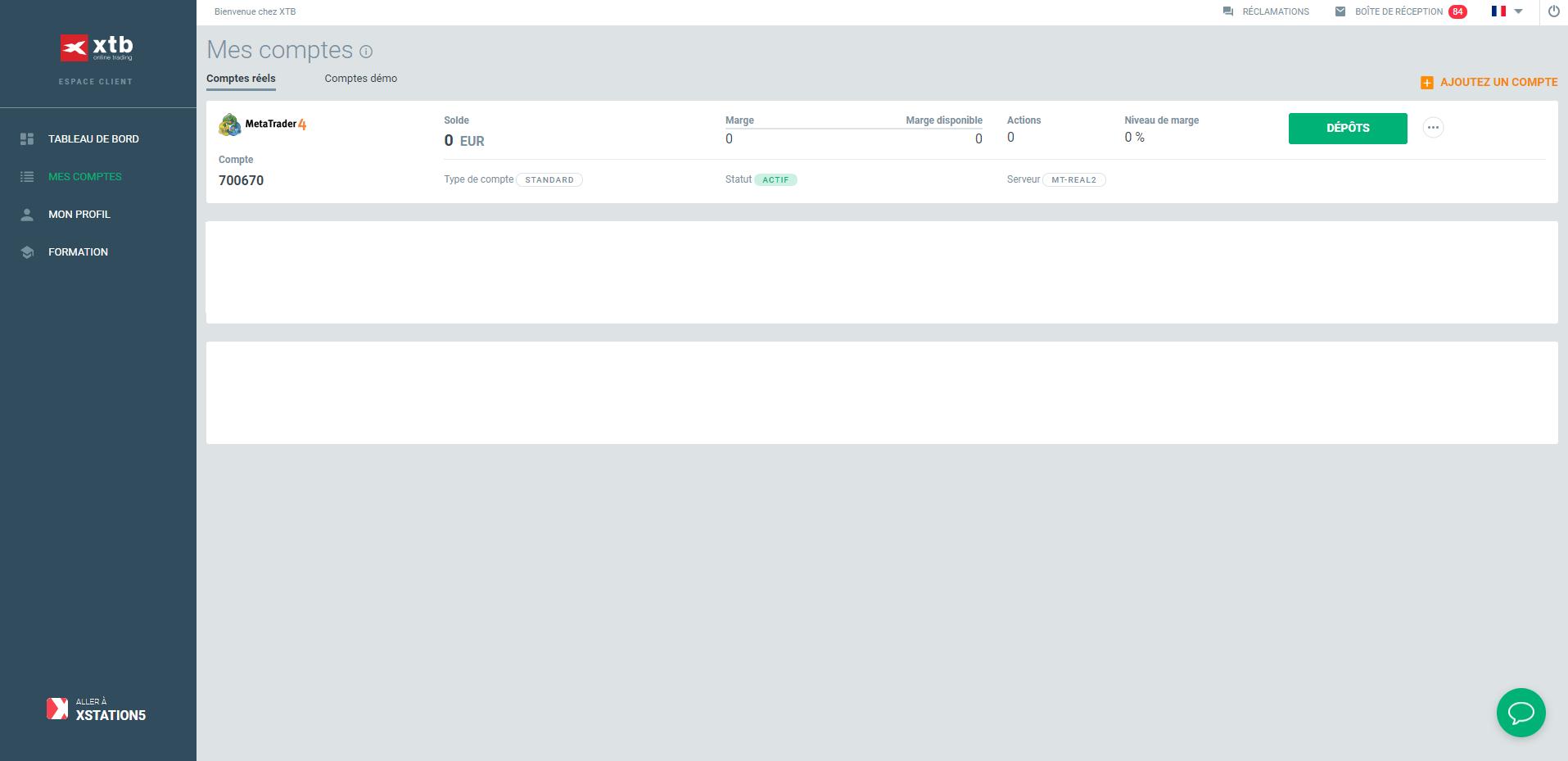 Les identifiants du compte de trading sur l'espace client XTB