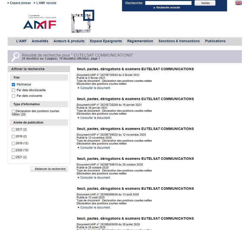 Les résultats suite à une recherche des positions courtes nettes sur l'action Eutelsat sur le site de l'AMF