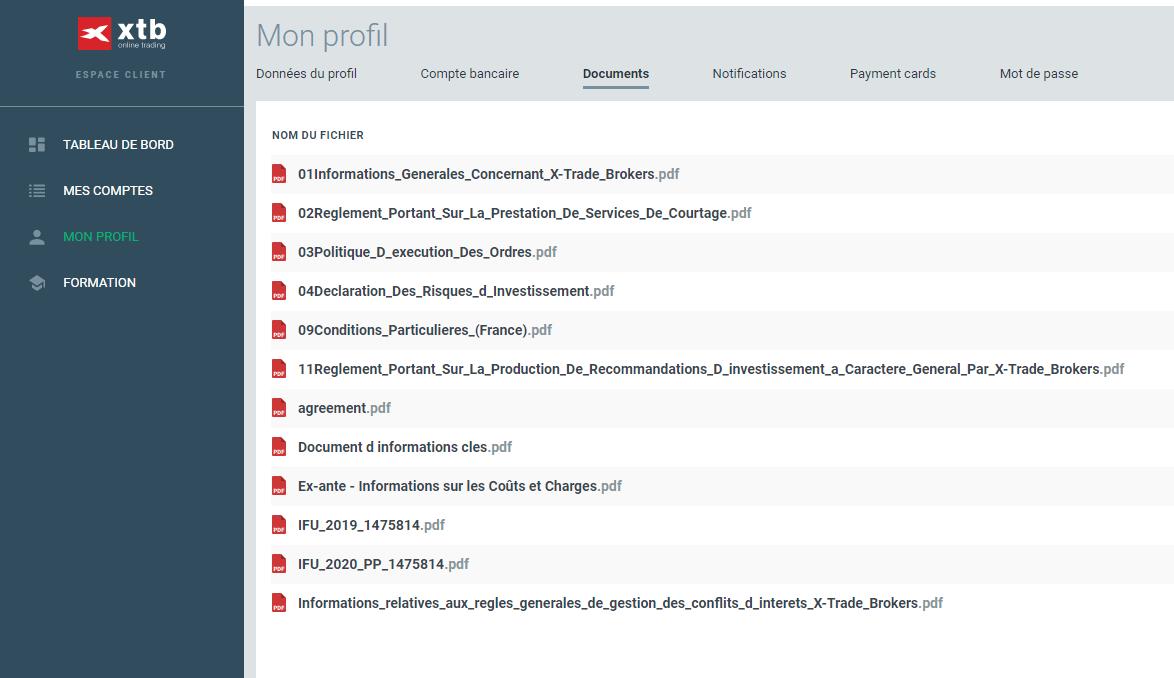 L'IFU disponible sur votre profil dans l'espace client XTB